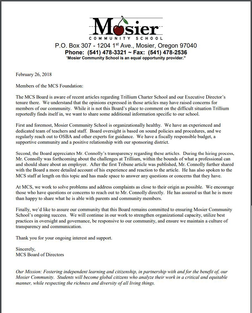 Mosier community school posts letter to parents and concerned citizens mr connolly is currently executive director at mosier community school on february 28 the mosier community school issued a letter to those with concerns thecheapjerseys Image collections