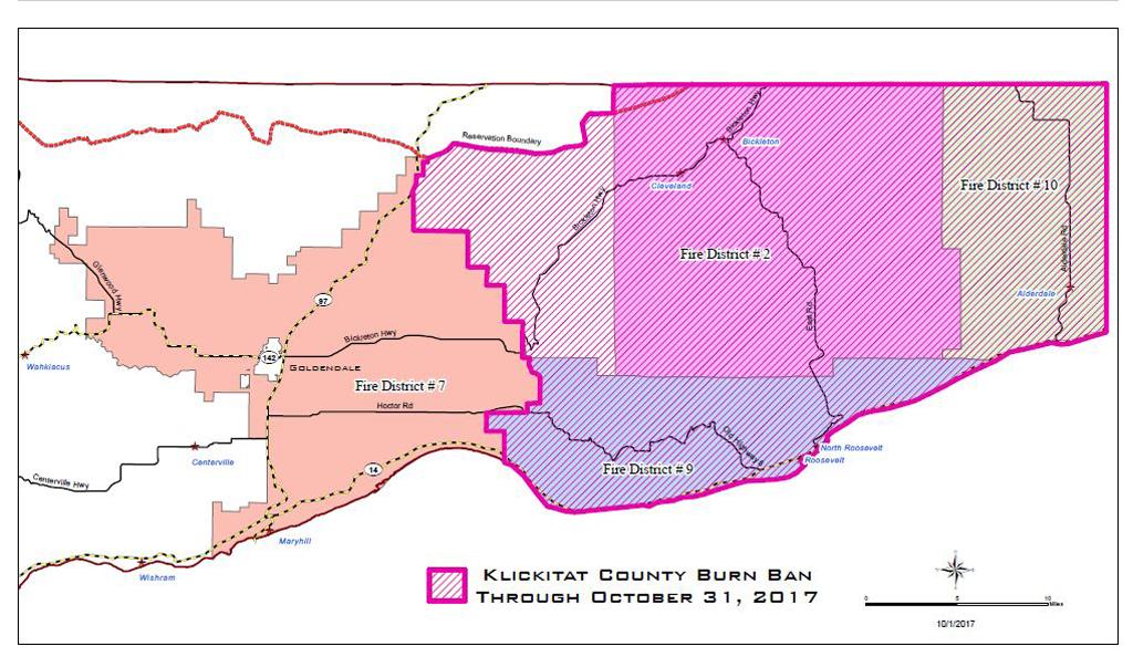10 11 12 Klickitat County Burn Ban Extended map