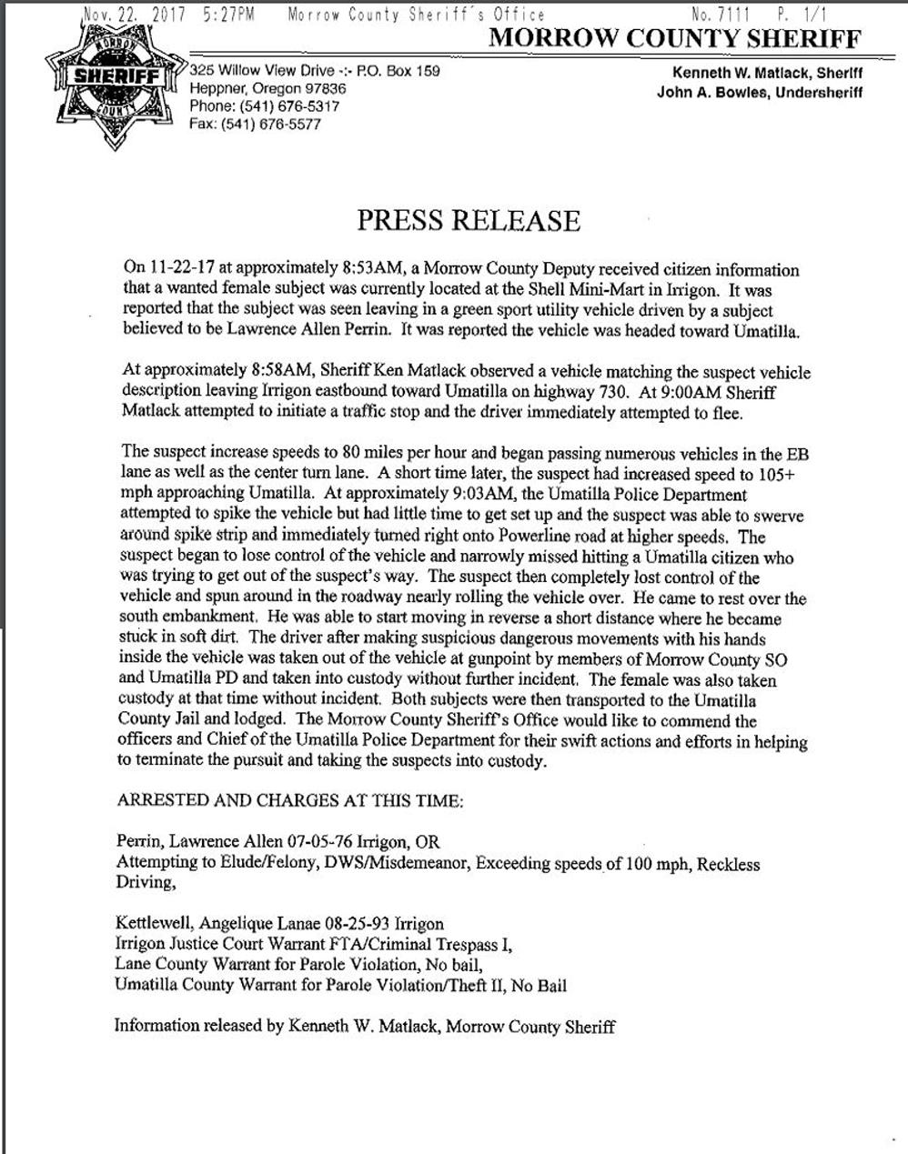 11 27 17 Morrow Sheriff news release combo