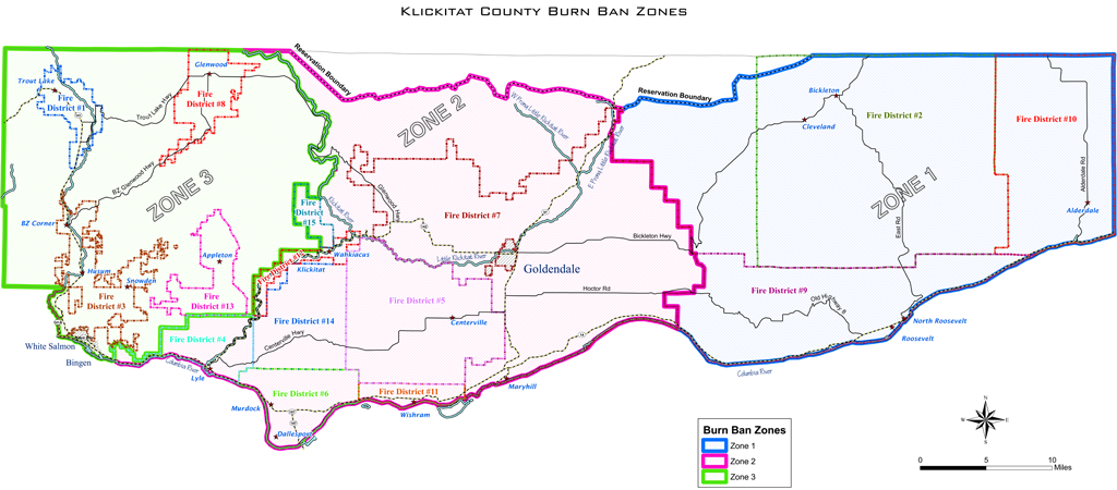 County Line 2 Fire Map.Map Klickitat County Burn Ban Zone Designations