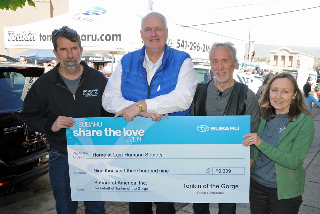 tonkin subaru and subaru of america donate to home at last gorge news center