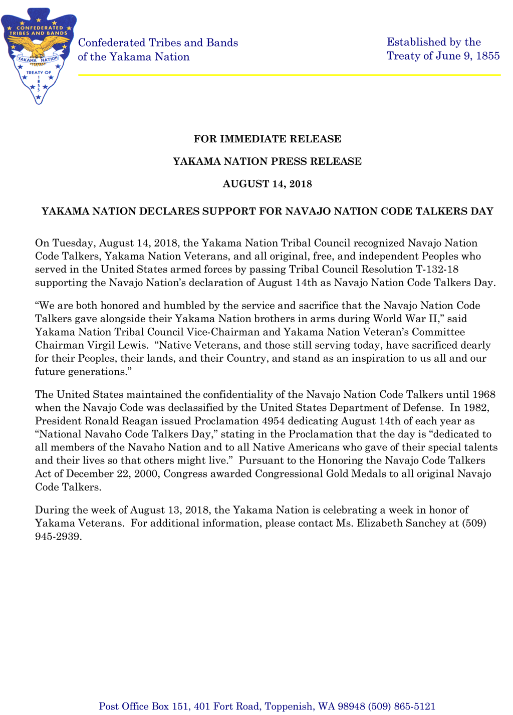 Yakama Nation declares support for Navajo Nation Code